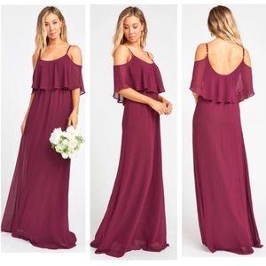 Show Me Your MuMu NWOT Merlot Chiffon Caitlin Gown